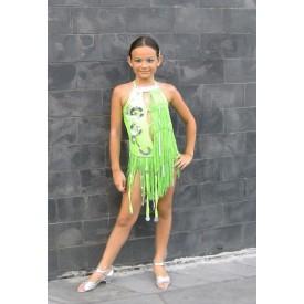Body bambina per esibizione ballo latino, realizzato in lycra verde acido.