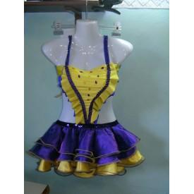 Abito da ballo latino baby per bambina, realizzato in lycra gialla e viola e in raso giallo e viola.