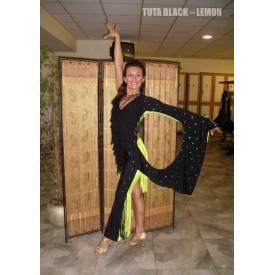 Tuta donna per ballo caraibico. Particolare tuta realizzata in bicolore giallo e nero.